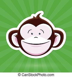 Happy Cartoon Monkey Face - green