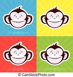 Happy Cartoon Monkey Face set