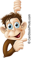 Happy cartoon monkey pointing