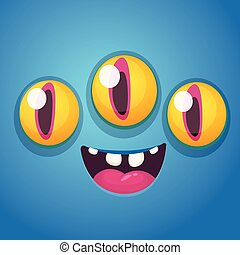 Happy cartoon monster face with three eyes. Vector Halloween monster square avatar