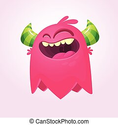 Happy cartoon monster. Funny monster face emotion. Halloween vector illustration