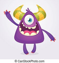 Happy cartoon monster. Halloween vector illustration