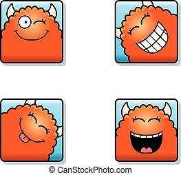 Happy Cartoon Monster Icons