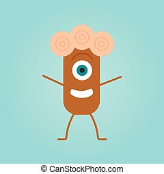Happy cartoon monster in a flat style.