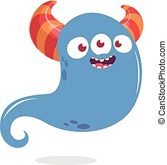 Happy cartoon monster or ghost. Vector Halloween illustration of blue ghost