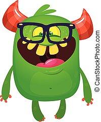Happy cartoon monster wearing eyeglasses. Vector Halloween character
