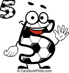 Happy cartoon number 5 character