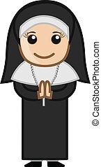 Happy Cartoon Nun Portrait - Cartoon Character - Nun Praying...