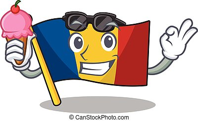 Happy cartoon of flag chad Scroll with ice cream