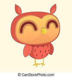 Happy cartoon owl. Vector character