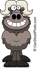A cartoon illustration of an ox looking happy.