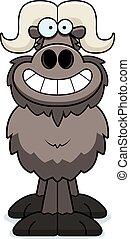 Happy Cartoon Ox - A cartoon illustration of an ox looking ...