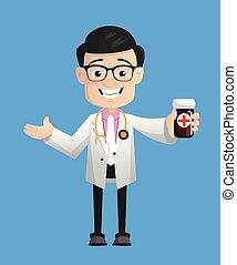 Happy Cartoon Pathologist Doctor Showing Pills Bottle Vector