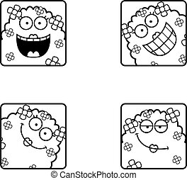 Happy Cartoon Plant Monster Icons
