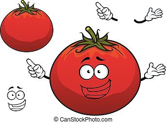 Happy cartoon plump red tomato vegetable character