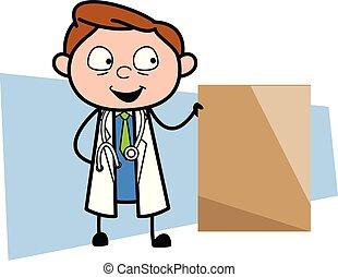 Happy Cartoon Psychiatrist with Ad Banner Vector