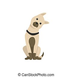 Happy cartoon puppy sitting, Portrait of cute little dog. Dog friend. Vector illustration. Isolated on white background.