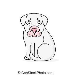 Happy Cartoon Puppy Sitting, Portrait Of Cute Little Dog . Dog Friend. Vector Illustration. Isolated .