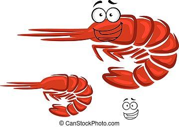 Happy cartoon red shrimp character