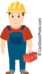 Happy cartoon repairman or construction worker with safety hat. Vector