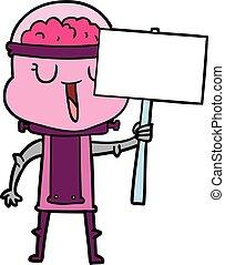 happy cartoon robot with sign