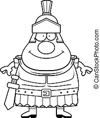 Happy Cartoon Roman Centurion - A cartoon illustration of a...