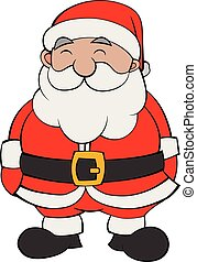 Happy Cartoon Santa Flat Color Vector