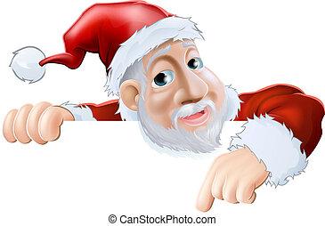 Happy cartoon Santa pointing down