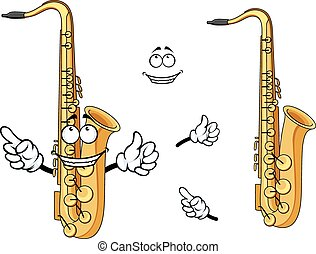Happy cartoon saxophone instrument character