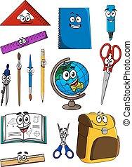 Happy cartoon school supplies characters