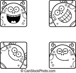 Happy Cartoon Sea Monster Icons