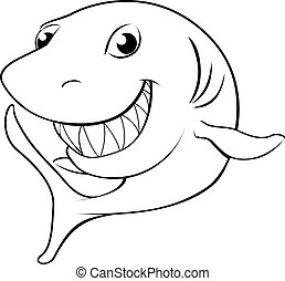 Happy cartoon shark - Black and white illustration of a...