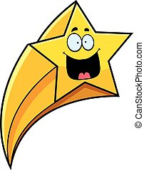 Happy Cartoon Shooting Star - A cartoon illustration of a...