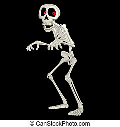Illustration of a happy skeleton cartoon isolated on a black background