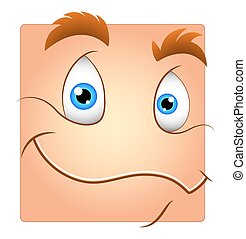 Cute Smile Box Smiley Cartoon Vector Character Face Expression
