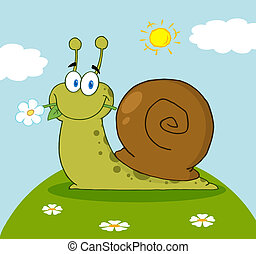 Snail With A Flower In Its Mouth