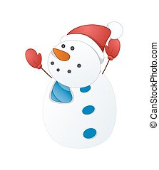 Happy Cartoon Snowman Character