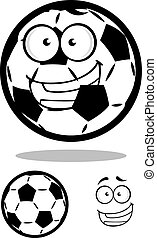 Happy cartoon soccer ball or football character