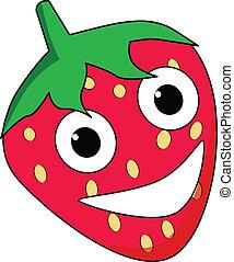 Happy cartoon strawberry character