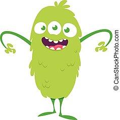 Happy cartoon three eyed monster. Vector illustration of funny monster. Halloween design
