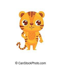 Happy cartoon tiger on white background. Vector illustration.
