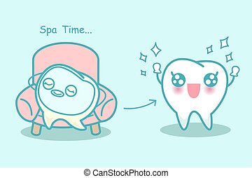 cartoon tooth with facial mask - Happy cartoon tooth with...
