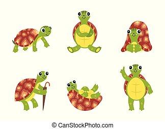 Happy cartoon turtle set - cute green sea animal with brown shell