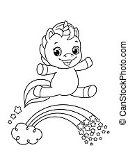 Happy cartoon unicorn flying over rainbow Coloring Page