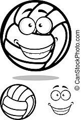 Happy cartoon volleyball ball character