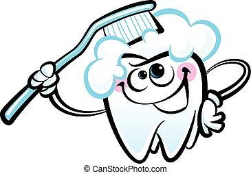 Happy cartoon white molar tooth cha