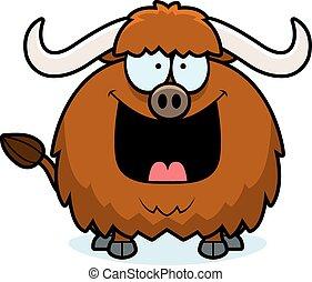 Happy Cartoon Yak - A cartoon illustration of a yak looking ...