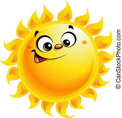 Happy cartoon yellow sun character smiling