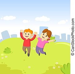Happy cartoon young boy and girl kids jumping for joy with their hands in the air on city and blue sky background.