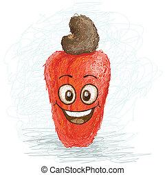 happy cashew - happy red cashew fruit cartoon character ...